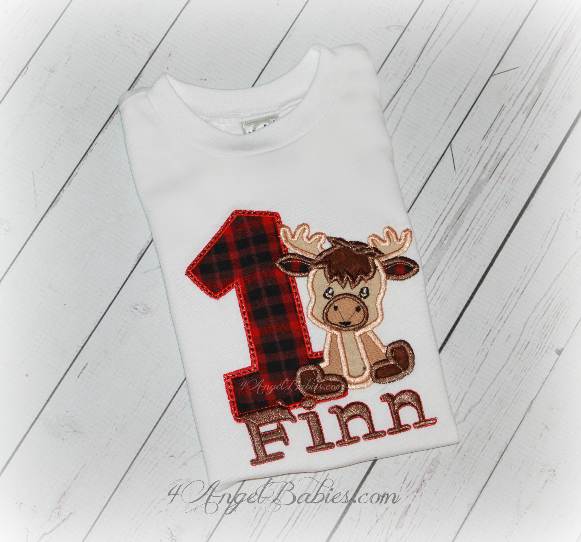 Moose Baby Red Buffalo Plaid Boys or Girls Birthday Shirt or Top