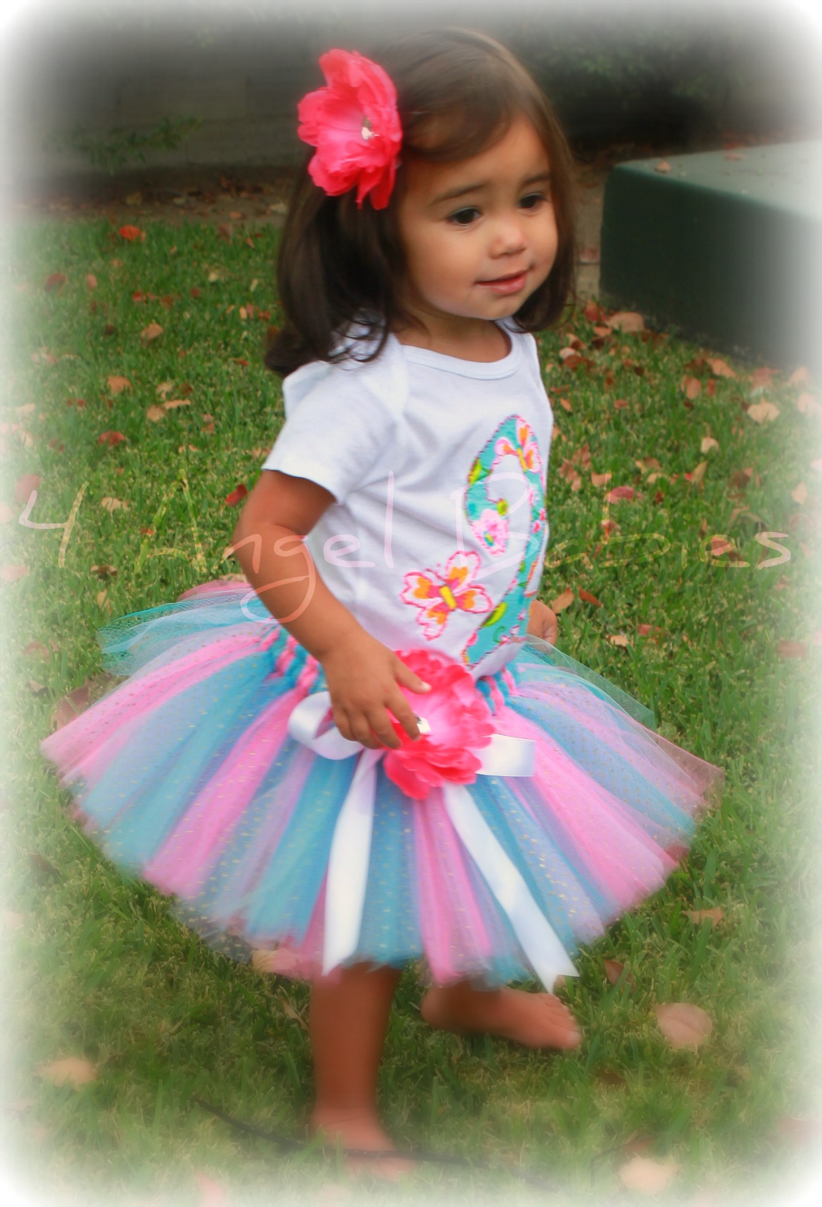 Butterfly Blossom Turquoise Pink Girls Birthday Glitter Outfit