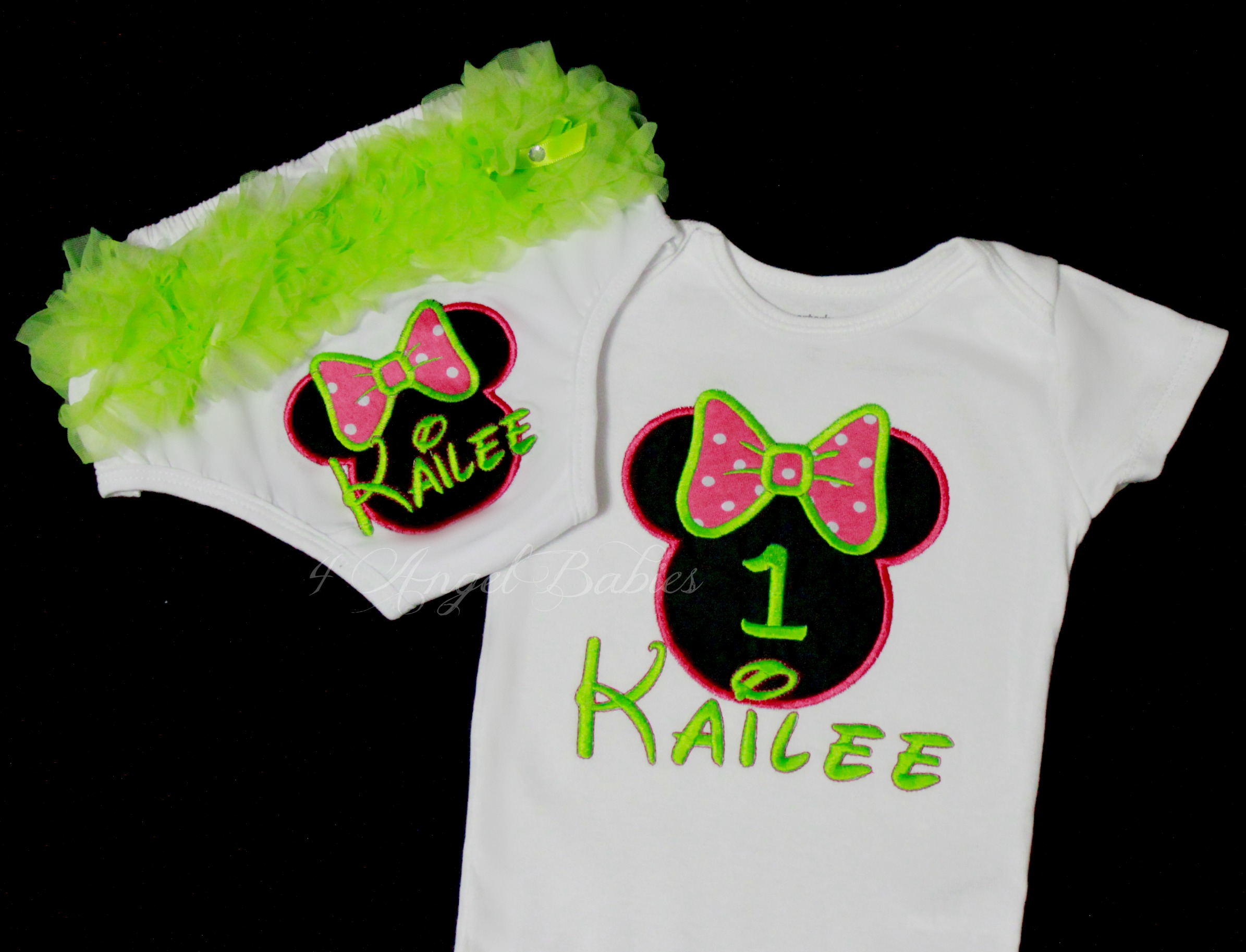 MINNIE MOUSE Hot Pink & Lime Green Girls Birthday Top or Shirt