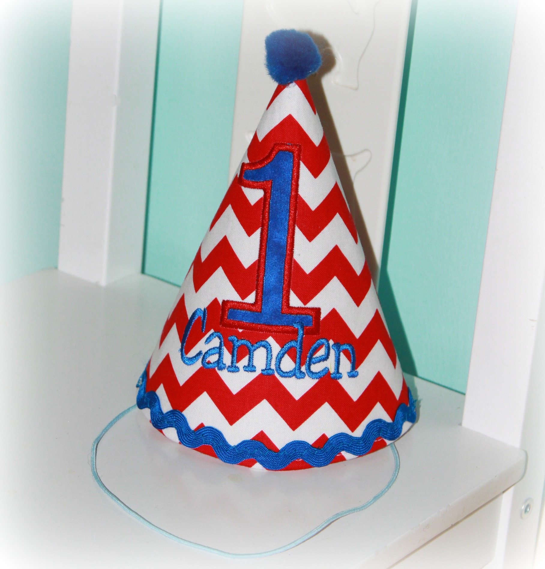 Airplane Red, White & Royal Blue Personalized Birthday Party Hat