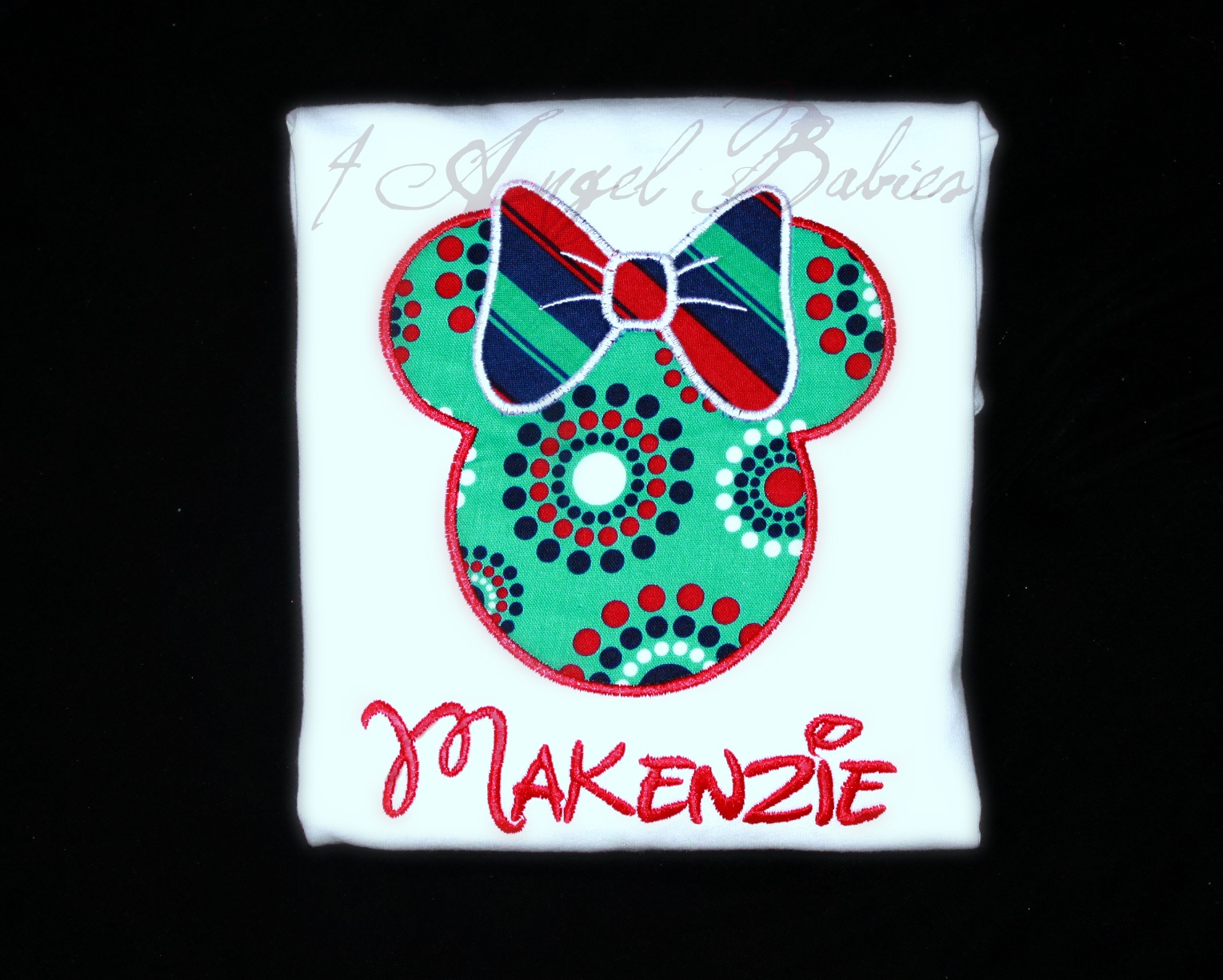 Red, White, Blue, & Turquoise Dot Minnie Mouse Top