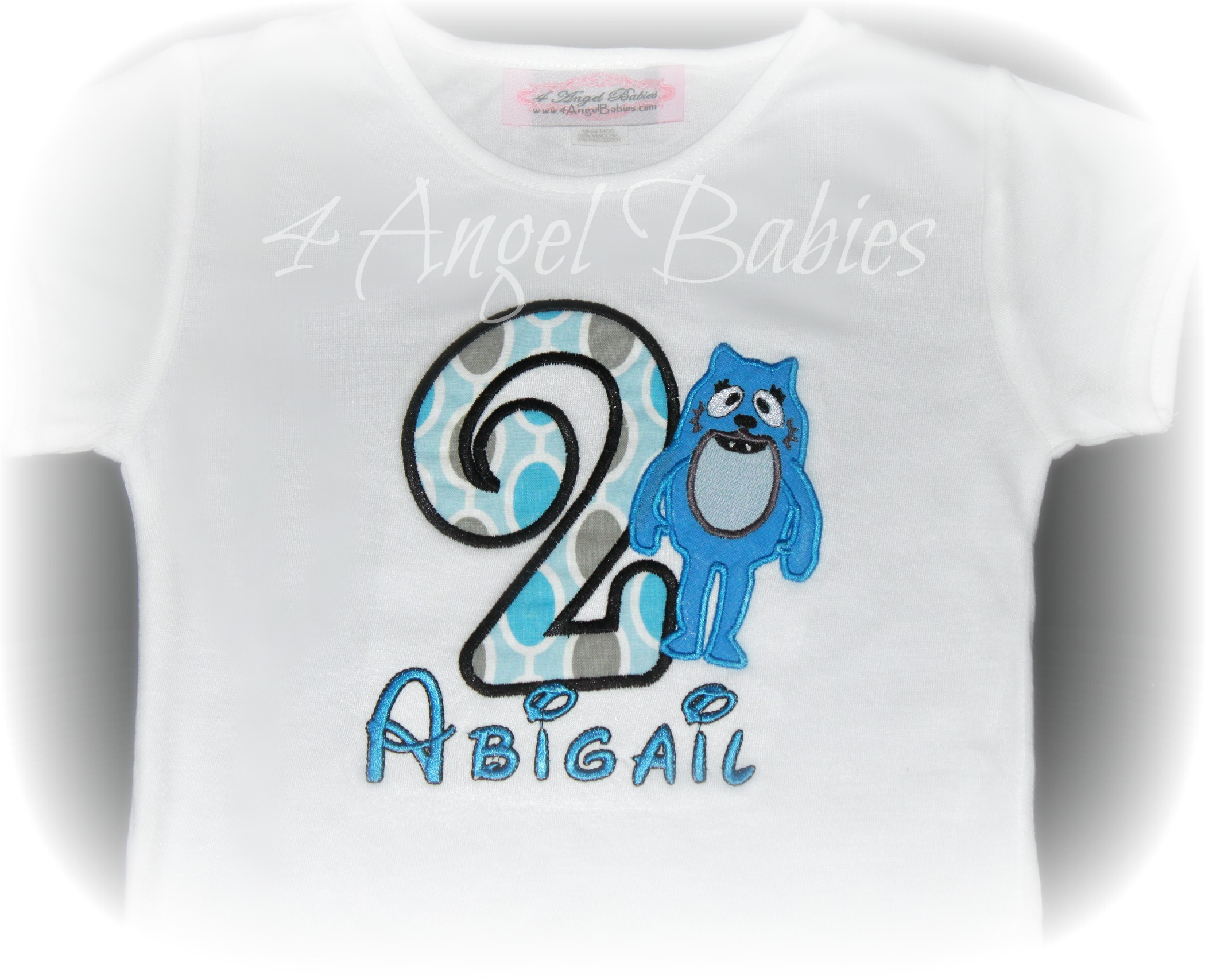 Blue Monster Todee Inspired Birthday Top with Name